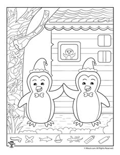 Winter Penguins Hidden Picture Printable For Hidden Pictures Printables Hidden Object Puzzles, Hidden Picture Puzzles, Hidden Objects, Math Coloring Worksheets, Tracing Worksheets, Hidden Pictures Printables, Winter Crafts For Kids, Activity Sheets, Winter Pictures