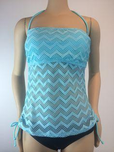 Vexy Crochet Bandeau Aqua Blue Tankini Top L