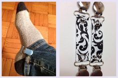Use mitten clips on your jeans when wearing boots to prevent them from riding up!  Damask mitten clip on Etsy, $15.93 CAD