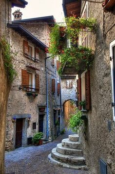 CURB APPEAL – another great example of beautiful design. Cobblestone Street, Tremosine Italy photo via john. Places Around The World, Oh The Places You'll Go, Places To Travel, Places To Visit, Around The Worlds, Wonderful Places, Beautiful Places, Beautiful Streets, Beaux Villages