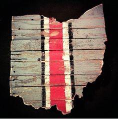 Ohio State; Buckeyes; barn wood; wall art