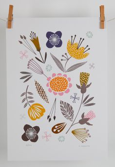 Woodland floral giclee A4 print by MaggieMagoo Designs by maggiemagoodesigns on Etsy