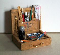 Miniature Artist Paint Box 1 inch dollhouse by MarquisMiniatures, $45.00