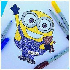 love this kind of art 💞 Zantangle Art, Zen Art, Doodle Art Drawing, Mandala Drawing, Disney Kunst, Disney Art, Minion Sketch, Dibujos Zentangle Art, Mandala Doodle