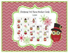 Christmas Owl Theme Number Cards 1-100 from Preschool Printables on TeachersNotebook.com -  (14 pages)  - Number cards 1-100 Great for pocket charts!