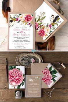 Tendencia floral en invitaciones de boda del 2017.