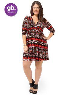Sativa Dress In Multi Tribal Print