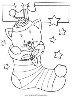 Christmas Stockings Coloring pages. Select from 31927 printable Coloring pages of cartoons, animals, nature, Bible and many more. Cat Coloring Page, Coloring Book Pages, Coloring Pages For Kids, Kids Coloring, Christmas Drawing, Christmas Cats, Christmas Colors, Christmas Gingerbread, Christmas Lights
