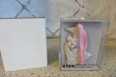 1928 Jewelry Promo Porcelain Pink Rose & Ribbon Goose Christmas Tree Ornament  #1928Jewelry