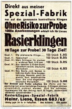 Original-Werbung / Anzeige 1938 - RASIERKLINGEN HEINRICH LIESE - ESSEN - ca. 65 x 100 mm