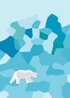 Arctic Polar Bear Landscape,  Blue, 5X7 fine art Print. via Etsy.