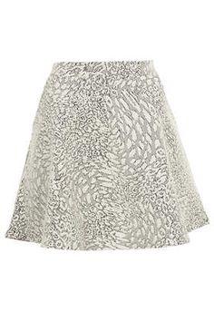 Cream Animal Jacquard Skater Skirt