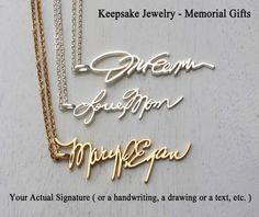 Signature Pendant - Memorial Signature - Personalized Gifts - Jewelry & Gifts - Vertical Pendant