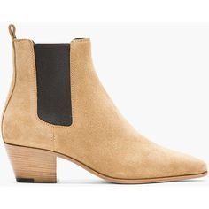 detailed look 31bb7 267b1 Saint Laurent Beige Suede Chelsea Boots ( 298) ❤ liked on Polyvore  featuring shoes,