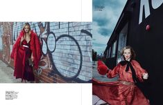 Anne Vyalitsyna takes it to the streets posing against a wall of graffiti