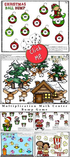 Elementary Multiplication Math Center FUN! Practice Multiplication facts from 2-9 with my new BUMP game!