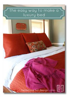 Easy tips for making a luxury bed, like the ones you find in a European hotel. interiordesigntips livewithbeauty interiors via interior designer - Diy for Home Decor Dream Bedroom, Home Bedroom, Bedroom Decor, Master Bedroom, By Any Means Necessary, Up House, Interior Design Tips, My New Room, Beautiful Bedrooms