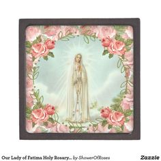 Our Lady of Fatima Holy Rosary Pink Roses Jewelry Gift Box - traditional gift idea diy unique