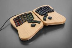 The Keyboardio Model 1. Hardwood body, mechanical switches & custom-sculpted keycaps.