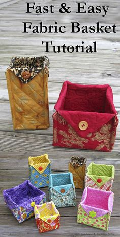 Fast and Easy free tutorial for fabric baskets in many sizes at conniekresin.com Perfect gifts for Christmas!