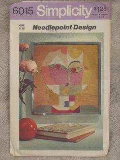 Mod Paul Klee Senecio needlepoint design print, 60s vintage transfer