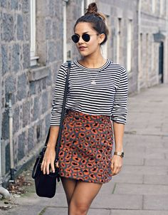 Striped shirt + high waisted skirt