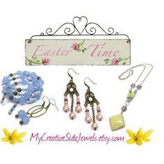 Easter Gift Ideas.  Handmade jewelry.  Blue wrap bracelet, pink pearl earrings, yellow pendant necklace.  Spring jewelry.  Boho jewelry.  Etsy shop: https://www.etsy.com/shop/MyCreativeSideJewels #handmadebracelets #braceletsideas