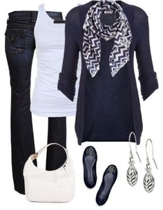 Blue jeans, black flats or boots, blue cardigan, navy/white scarf, white tank, silver leaf earrings