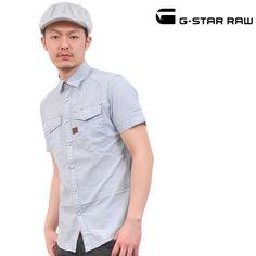 G-STAR RAW (ジースターロー) シャツ シャンブレー ライトブルー 半袖 sh-gs-120