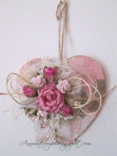 Rose Heart - Ally Pally Inspired make Heart Decorations, Valentine Decorations, Valentine Wreath, Valentine Crafts, Diy And Crafts, Crafts For Kids, Paper Crafts, Shabby Chic Hearts, Heart Crafts