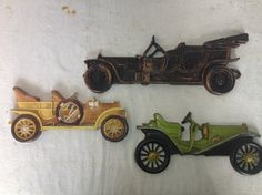 Vintage Antique Cars wallh angings cast metal jolopy chitty boys room decoration