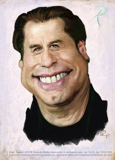 John Travolta by Regis Teixeira Cartoon Faces, Funny Faces, Cartoon Art, Cartoon Characters, Funny Caricatures, Celebrity Caricatures, Celebrity Drawings, John Travolta, Caricature Artist