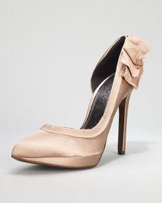 www.lanvin.com, Lanvin, Grosgrain-Trimmed Satin d'Orsay Pump, Champagne, bride, bridal, wedding shoes, bridal shoes, wedding, bride shoes, satin shoes, designer shoes, haute couture