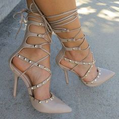Share to get a coupon for all on FSJ Nude Strappy Heels Pointed Toe Rivets Shoes Stiletto Heels Pumps Hot Heels, Sexy Heels, Strappy Heels, Stilettos, Pumps Heels, Stiletto Heels, Heeled Sandals, Nude Pumps, Flats