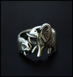 Baby & Mama Elephant Ring...  The elephants are a symbols of strength, wisdom and good luck!,