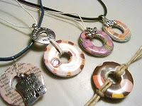 Washer Necklace - covered in paper & Mod Podge