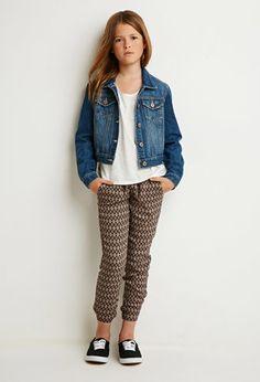 Southwestern Print Pants (Kids)   Forever 21 girls - shirt, jacket jeans, sneaker