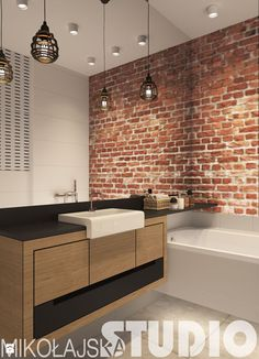 Brick Bathroom, Rustic Bathroom Designs, Loft, Home Decor Kitchen, Interior Design Living Room, New Homes, House Design, Bathrooms, Exposed Brick