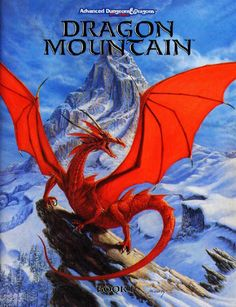 """""""Dragon's Crag"""" by Jennell Jaquays, from the covers of Book I and the box of TSR's Dragon Mountainfor 2nd Ed AD&D in 1993, included as a fold-out poster in that boxed set, and the cover of the 1994 Dragonlance short story collection The Dragons of Krynn."""