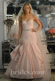 """Brides: Watters - Spring 2013. """"Talia"""" pink strapless silk taffeta mermaid wedding dress with folded skirt and a sweep train, Watters"""