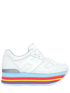 HOGAN 70MM MAXI 222 LEATHER SNEAKERS, WHITE/RAINBOW. #hogan #shoes #sneakers