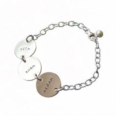 Silver Circle Name Bracelet-Silver Circle Name Bracelet- i am going to make one of these...