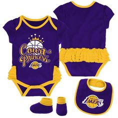 OuterStuff Los Angeles Lakers Go Lakers Infant Toddler 3 Piece Creeper Set