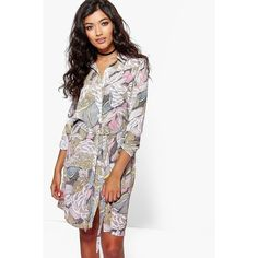 Boohoo Maisy Floral Tie Waist Shirt Dress ($30) ❤ liked on Polyvore featuring dresses, nude, white bodycon dress, waist belt, white shirt dress, day to night dresses and holiday dresses