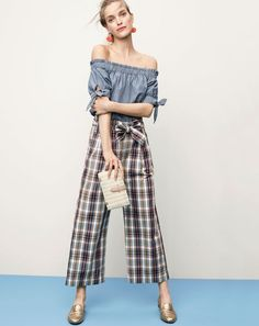 J.Crew women's off-the-shoulder top in chambray, wide-leg cropped pant in vintage plaid, dandelion drop earrings, rattan clutch and Charlie loafer in metallic leather.