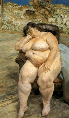 Sleeping by the Lion Carpet. 1995-6 (228.6cm x 121.3cm), Lucian Freud