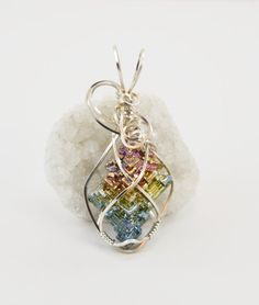 Big Rainbow bismuth crystal necklace  Bismuth by FeathersnThingz