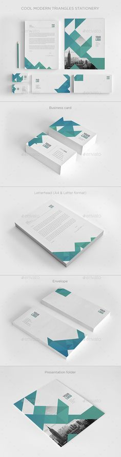 Cool Modern Triangles Stationery  #a4 #blue #business • Available here → http://graphicriver.net/item/cool-modern-triangles-stationery/11381460?s_rank=168&ref=pxcr