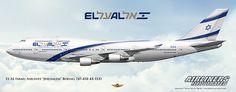 """EL AL Israel Airlines """"Jerusalem"""" Boeing 747-458 4X-ELD. Airliners Illustrated® by Nick Knapp©."""