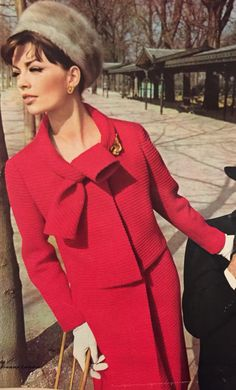 Jeanne Lanvin- 1965/66 Strawberry red wool jacket and inverted pleat skirt suit. Elegance No. 27- 1965/66